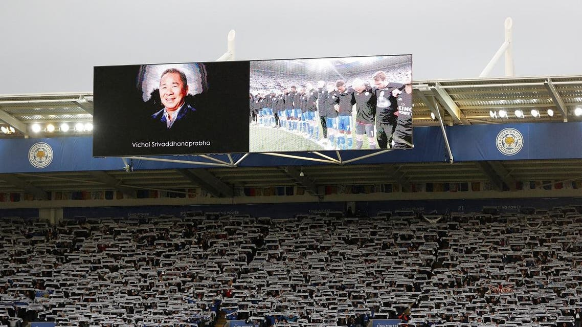Leicester City fans hold up scarves during a two minute silence in memory of the club's late owner Vichai Srivaddhanaprabha. (Reuters)