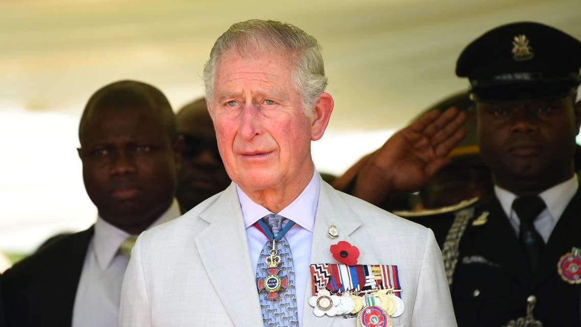 Britain's Charles, Prince of Wales stands during the honouring of the fallen heroes of the two World Wars in Abuja. (Reuters)