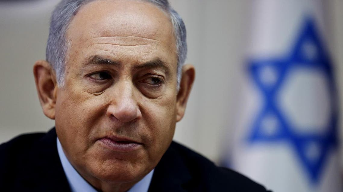 Israeli Prime Minister Benjamin Netanyahu attends the weekly cabinet meeting at his office in Jerusalem. (AFP)