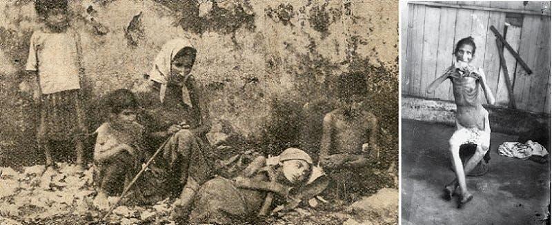 لبنانية بارزة عظامها تتناول قطعة من الخبز، وثانية مع أولادها بين القمامة
