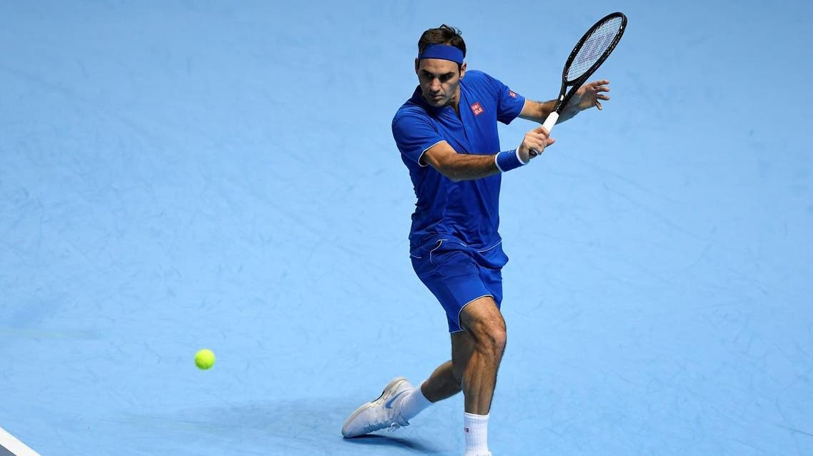 Roger Federer in action during his group stage match against Japan's Kei Nishikori Action Images via Reuters/Tony O'Brien
