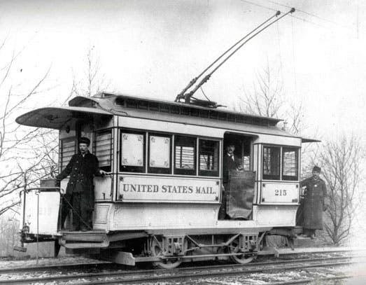 صورة لإحدى عربات القطار المخصصة لنقل البريد سابقا بالولايات المتحدة الأمريكية