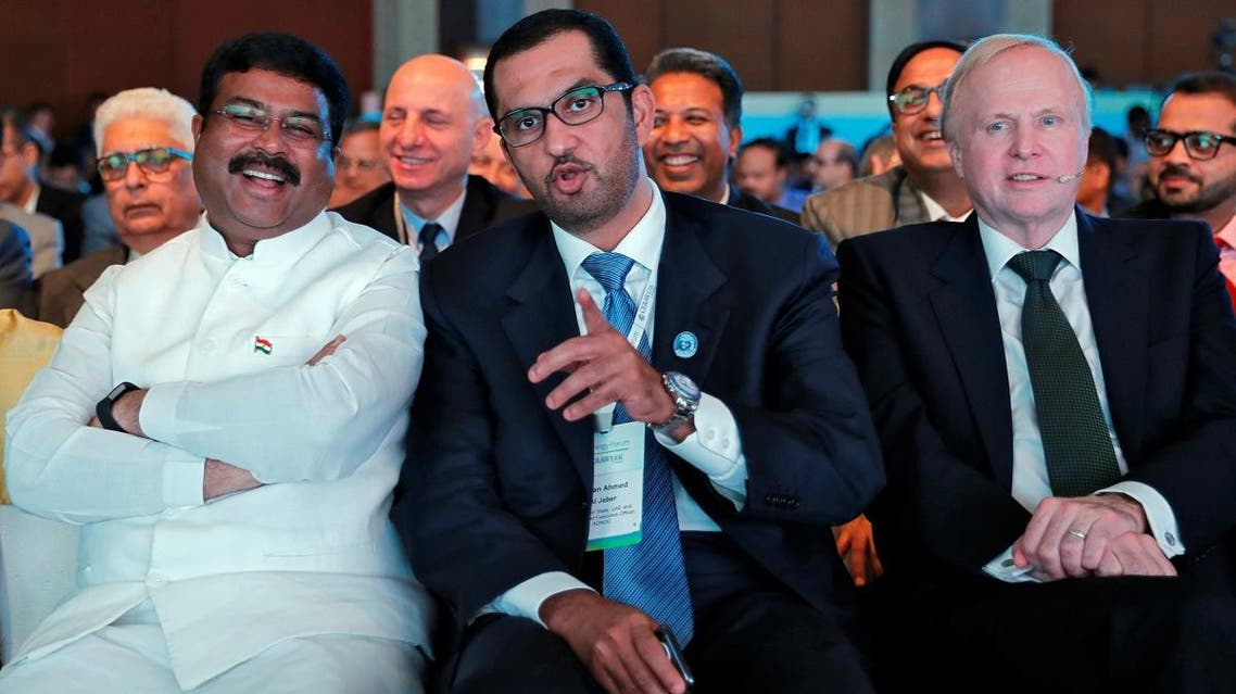(L-R) India's Oil Minister Dharmendra Pradhan, Sultan Ahmed Al Jaber, UAE Minister of State and the ADNOCGroup CEO, and BP Chief Executive Robert Dudley at the India Energy Forum in New Delhi, on October 15, 2018. (Reuters)