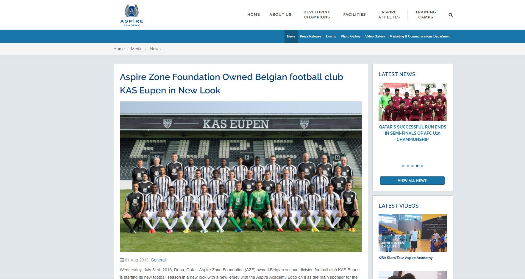 Aspire Zone Foundation (AZF) owned Belgian second division football club KAS Eupen in 2013