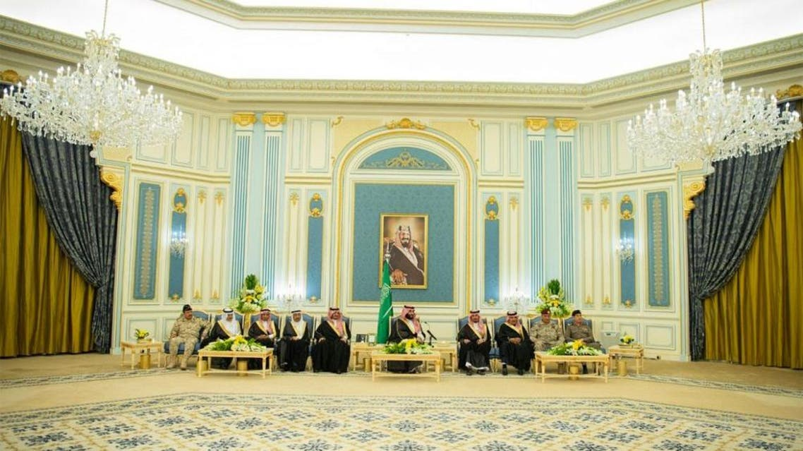 The Crown Prince expressed his happiness in meeting with the families of martyrs of the duty. (SPA)
