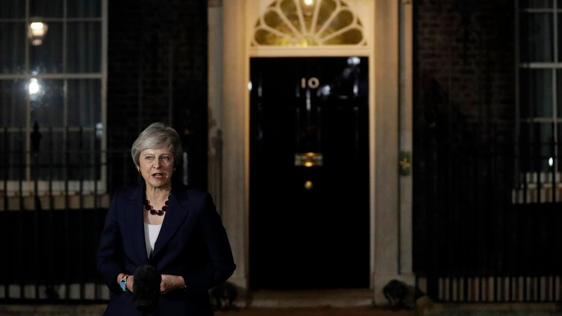 Britain's Prime Minister Theresa May delivers a speech outside 10 Downing Street in London. (AP)