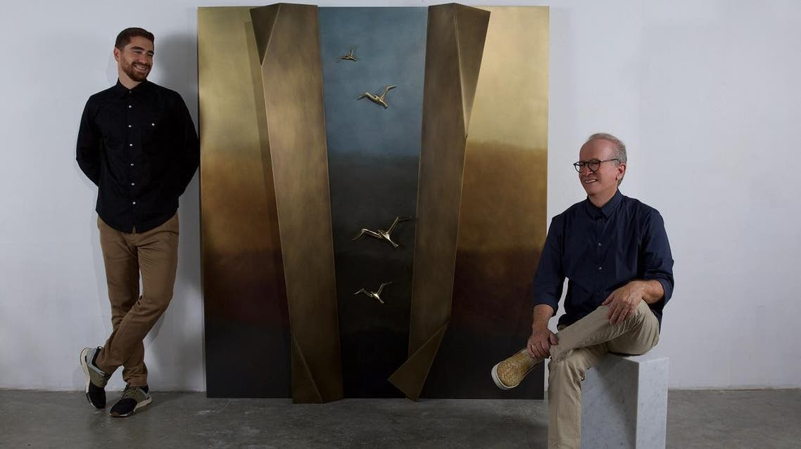 Father-and-son design duo Wajih and Omar Nakkash with the 'Liberty Window'. (Supplied)