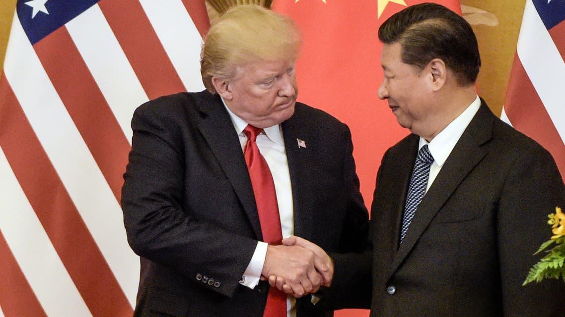 الرئيس الأميركي ونظيره الصيني في بكين (أ.ف.ب)