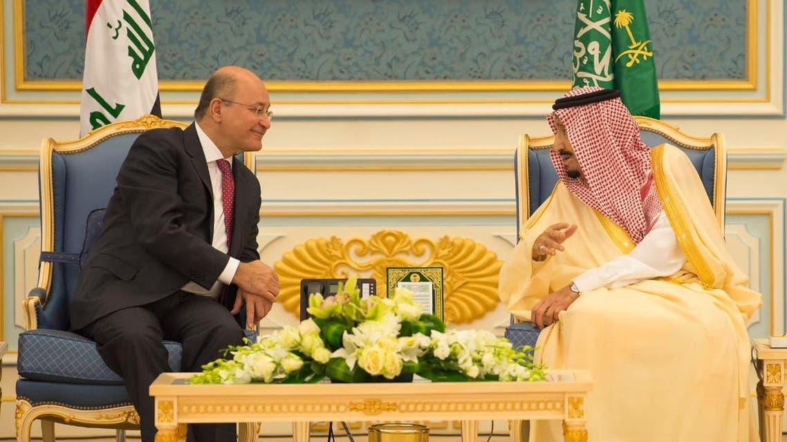 Saudi King Salman receives Iraqi President Barham Salih in Riyadh