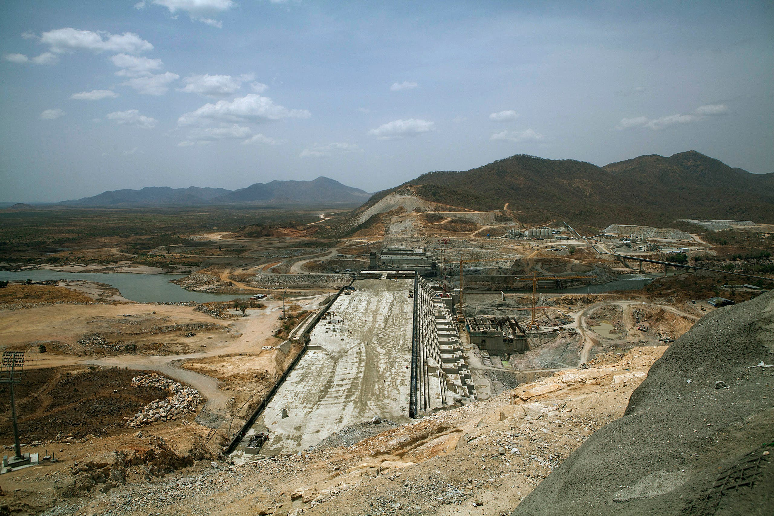 A photo taken on March 31, 2015 shows the Grand Renaissance Dam under construction near the Sudanese-Ethiopia border. (AFP)