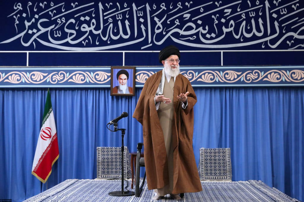 Iran's Supreme Leader Ali Khamenei, speaks during a meeting with students at the Hussayniyeh of Imam Khomeini in Tehran. (Reuters)