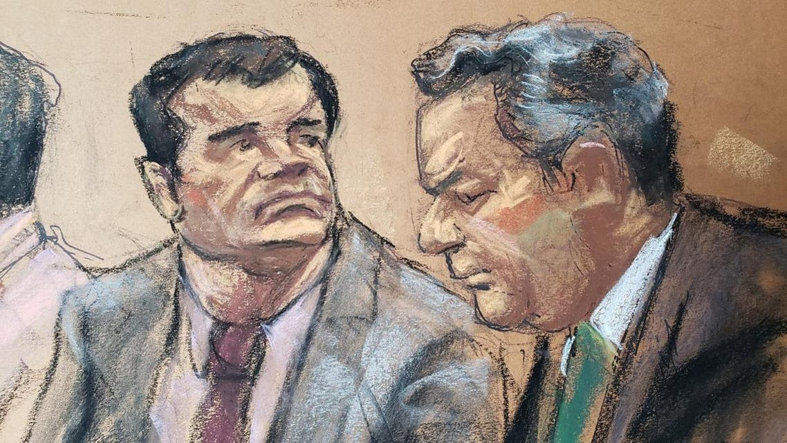 """The accused Mexican drug lord Joaquin """"El Chapo"""" Guzman, is shown in this courtroom sketch as he appears in Brooklyn federal court in New York. (Reuters)"""