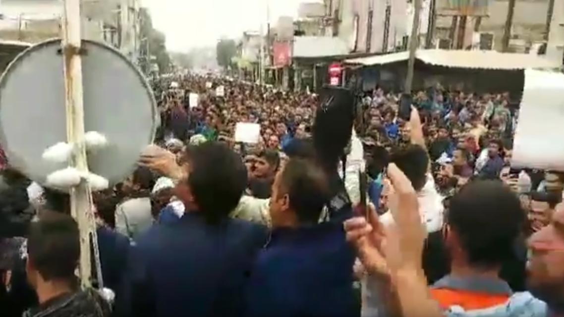 Haft Tappeh protests. (Screengrab)