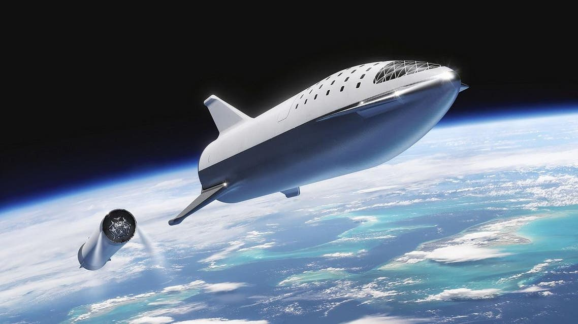 This artist's illustration courtesy of SpaceX obtained November 20, 2018, shows the SpaceX BFR(Big Falcon Rocket)rocket passenger spacecraft at stage seperation. (AFP)