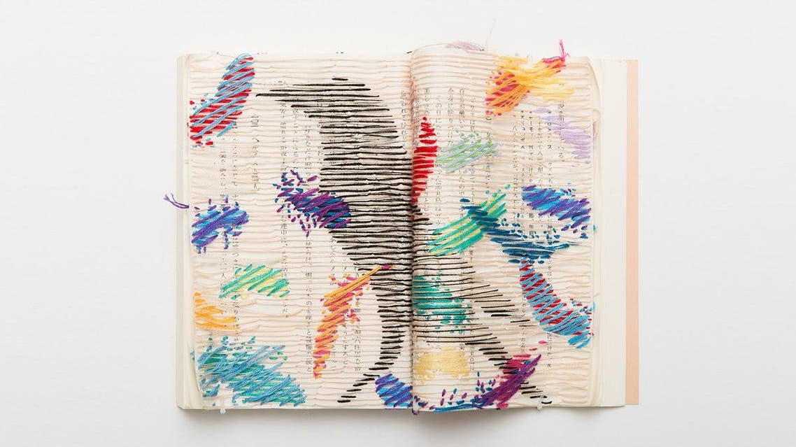 Asami Kiyokawa's 'Aesop's Fables_Aesop', 2016. Book, embroidery thread, 14.8 × 21 cm. (Courtesy of the artist©AsamiKiyokawa)