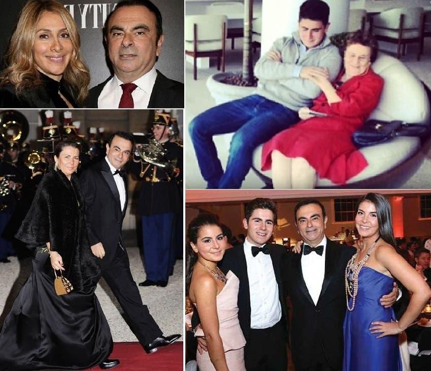 مراهقا مع والدته، ومع 3 من أبنائه الأربعة، وصورة مع زوجته الحالية، وتحتها مع زوجته السابقة