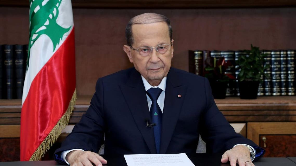 Lebanese President Michel Aoun talks on the eve of the country's 75th independence day at the presidential palace in Baabda. (Reuters)