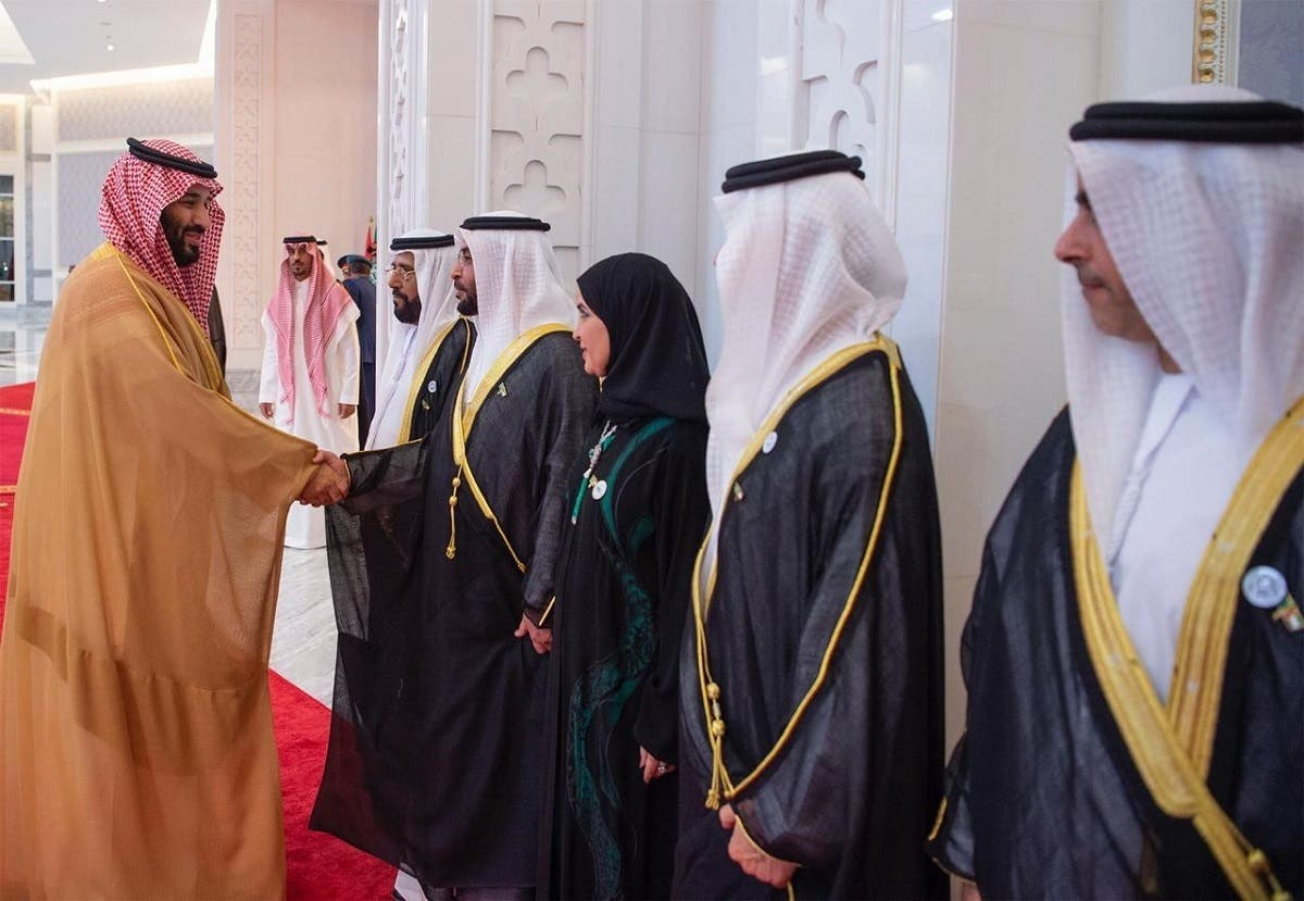 Saudi Crown Prince being greeted by UAE Ministers.