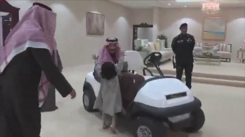 Image result for VIDEO: Little Saudi girl runs to embrace Saudi King Salman in al-Jawf