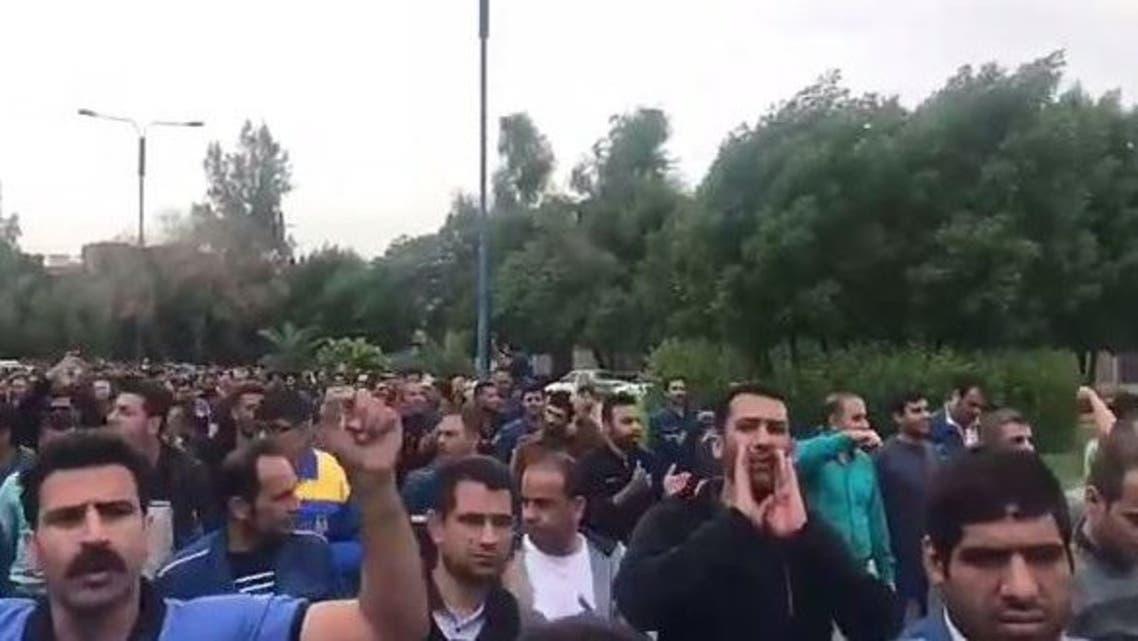 مظاهرات عمال الصلب في الاهواز