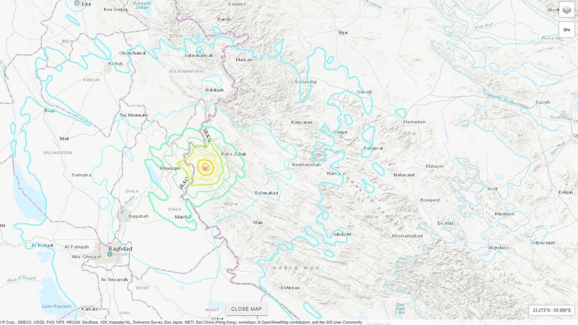 iran iraq earthquake map