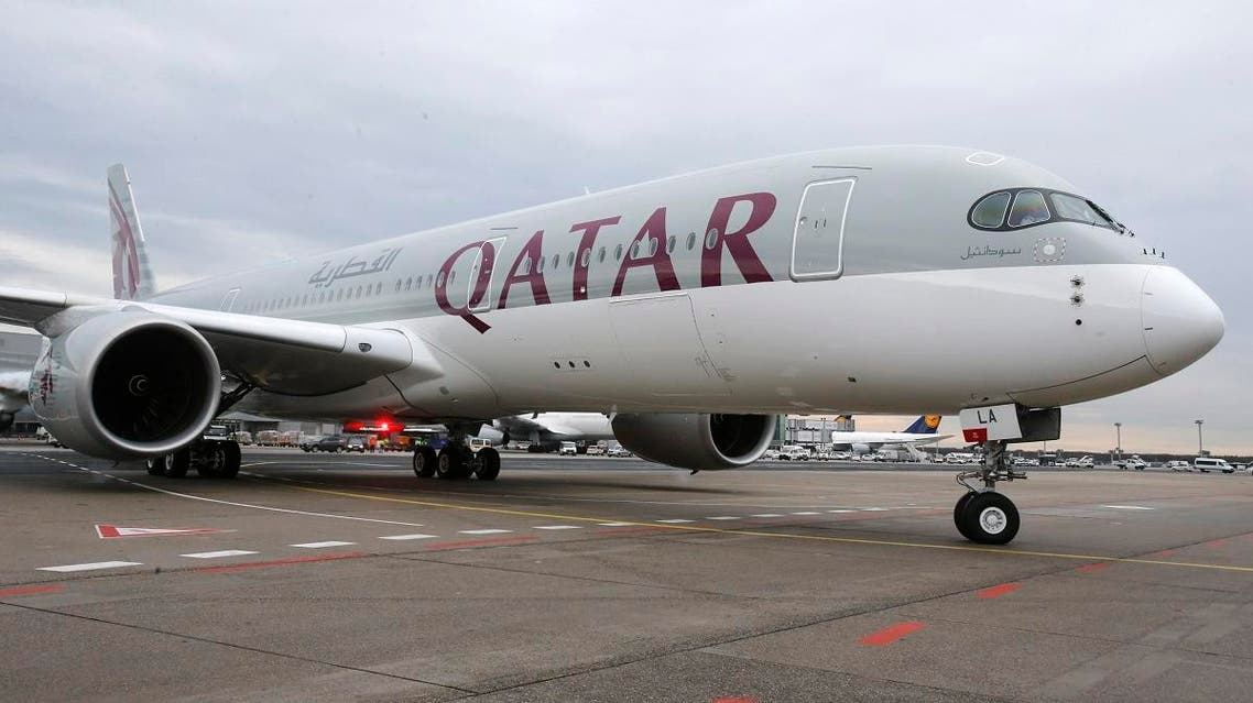 a new Qatar Airways Airbus A350 approaches the gate at the airport in Frankfurt, Germany. (File photo: AP)