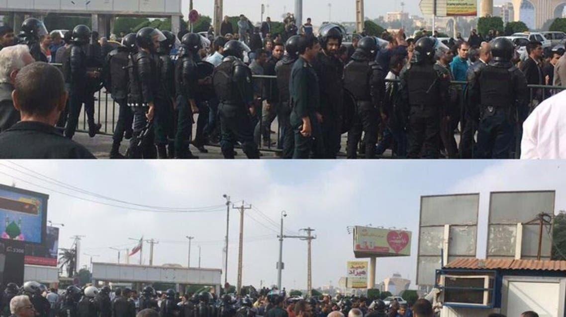 حضور كثيف لقوات الامن الايرانية تحاصر العمال المحتجين في الاهواز