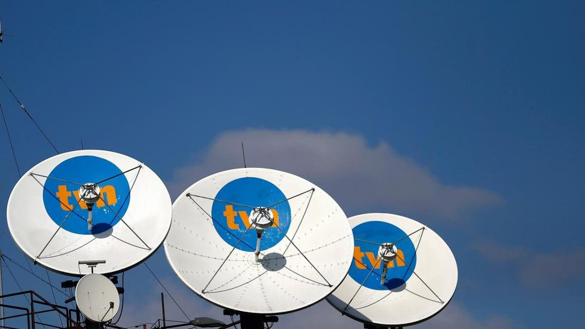 Satellite antennas are pictured at the TVN headquarters in Warsaw. (Reuters)