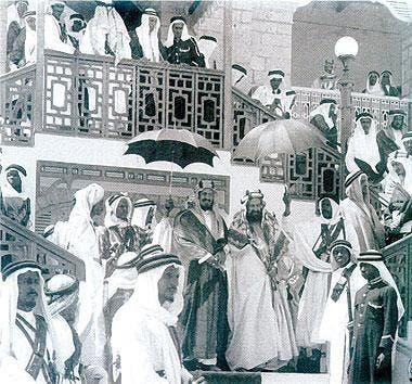 Saudi Crown Prince Mohammed bin Salman on Sunday stood at the same spot as the founding grandfather King Abdulaziz at al-Qudaibiya Palace