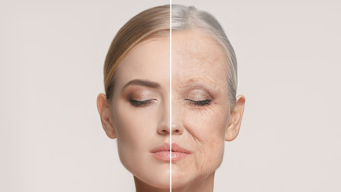 Comparison. Portrait of beautiful woman with problem and clean skin, aging and youth concept, beauty treatment - Stock image