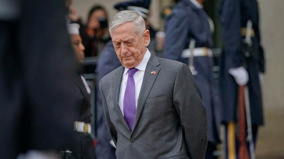 Defense Secretary Jim Mattis waits outside for Chinese Minister of Defense General Wei Fenghe to begin an arrival ceremony at the Pentagon, Friday. (AP)