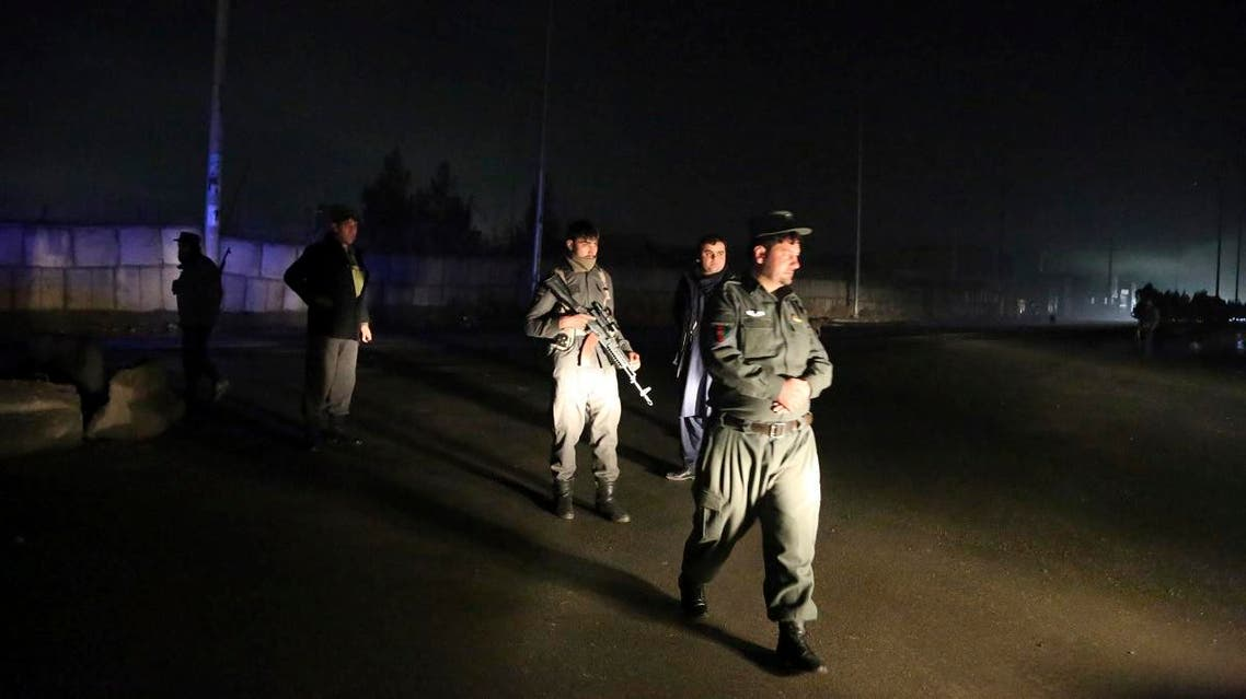 Security forces block the roads at the site of a suicide bomb attack in Kabul, Afghanistan, on November 28, 2018. (AP)