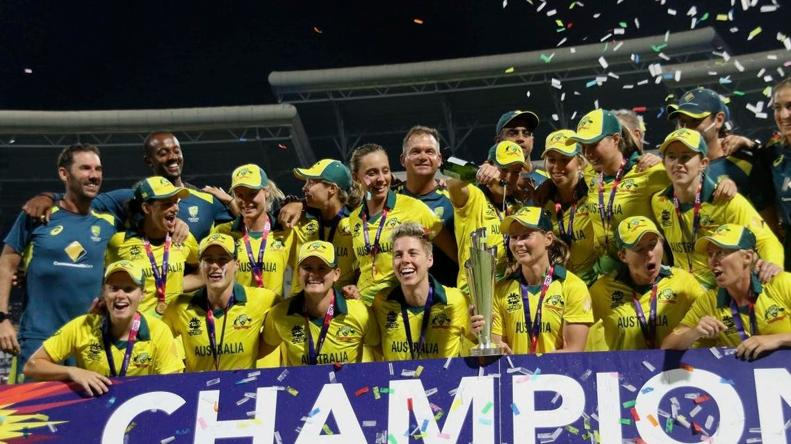 The Australian women's cricket team poses for a photo after winning the final of the Women's World Twenty20 against England in North Sound, Antigua, Saturday, Nov. 24, 2018. (AP)