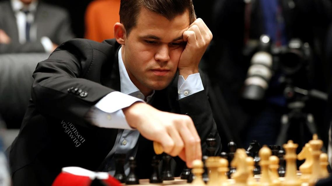 Magnus Carlsen during his first match against Fabiano Caruana. (Reuters)