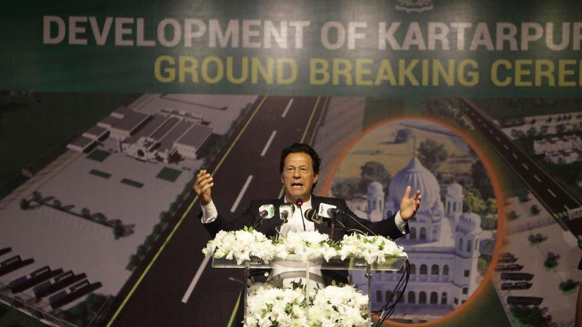 Pakistani Prime Minister Imran Khan addresses during a ceremony in Kartarpur, Pakistan, on November 28, 2018. (AP)
