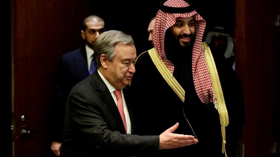Saudi Arabia's Crown Prince Mohammed bin Salman Al Saud walks into a room with U.N Secretary- General Antonio Guterres before a photo opportunity at the United Nations headquarters in the Manhattan borough of New York City, New York, U.S. March 27, 2018. REUTERS/Amir Levy
