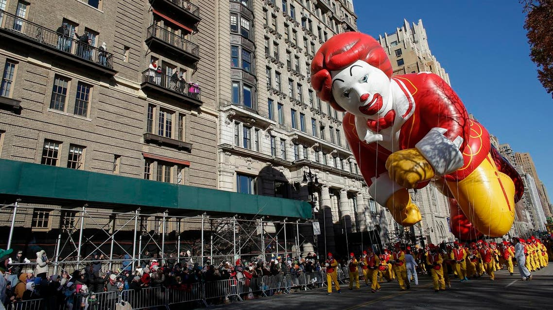 A balloon of Ronald McDonald floats during the 92nd annual Macy's Thanksgiving Day Parade in New York on November 22, 2018. (File photo: AFP)