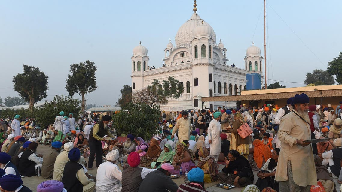 Sikh Pilgrims in front of Kartarpur Gurdwara Sahib on November 28, 2018. (AFP)