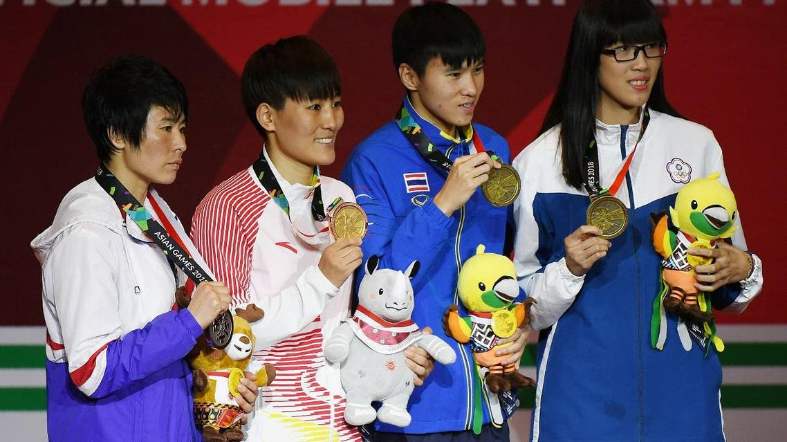 The medal ceremony for the women's feather (57-60kg) boxing final at the 2018 Asian Games in Jakarta on September 1, 2018. (AFP)