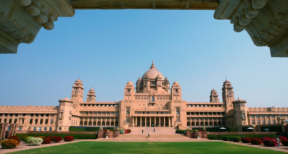 A view of the Umaid Bhawan Palace, also operating as a five-star deluxe hotel, at the historic town of Jodhpur in the desert Indian state of Rajasthan. (Reuters)