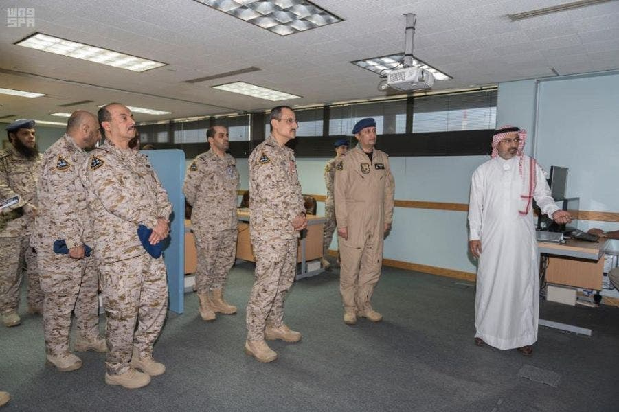 Commander of the Royal Saudi Air Forces Turki bin Bandar bin Abdul Aziz visited the headquarters of the Saudi-British Green Flag. (SPA)