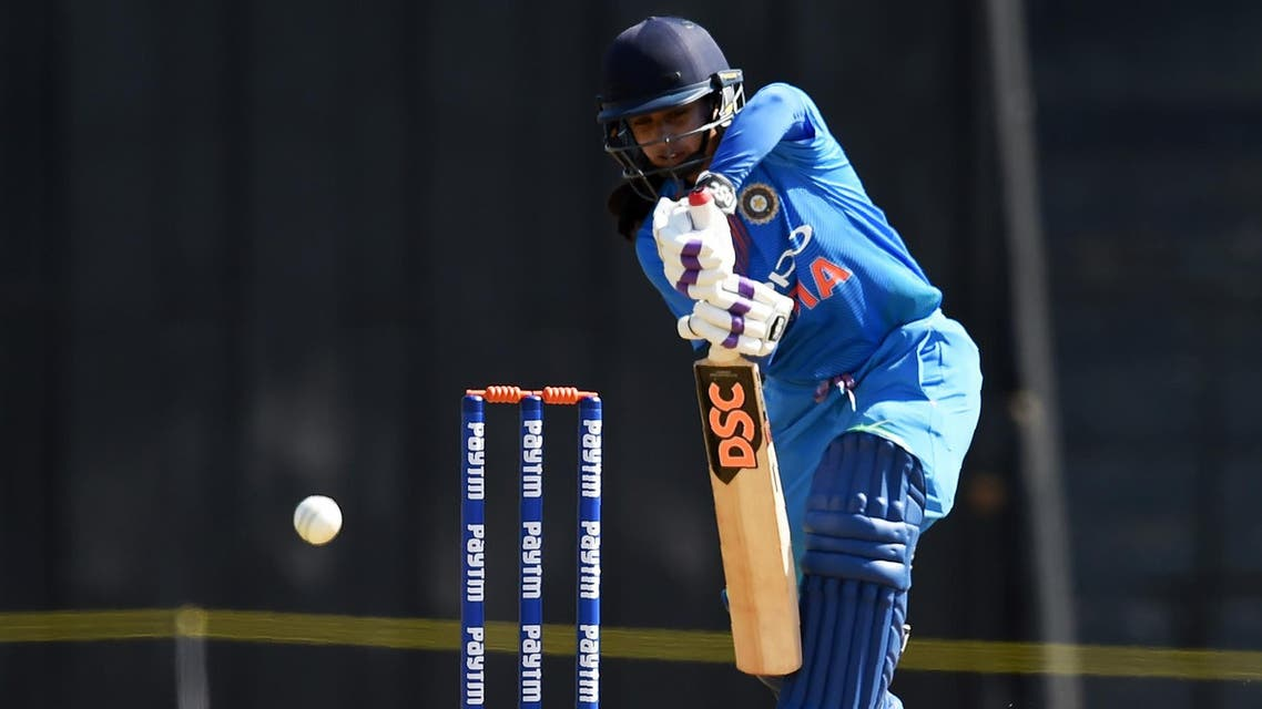 Mithali Raj plays a shot during Twenty 20 Tri-Series between India and Australia at the Brabourne stadium in Mumbai on March 22, 2018. (AFP)