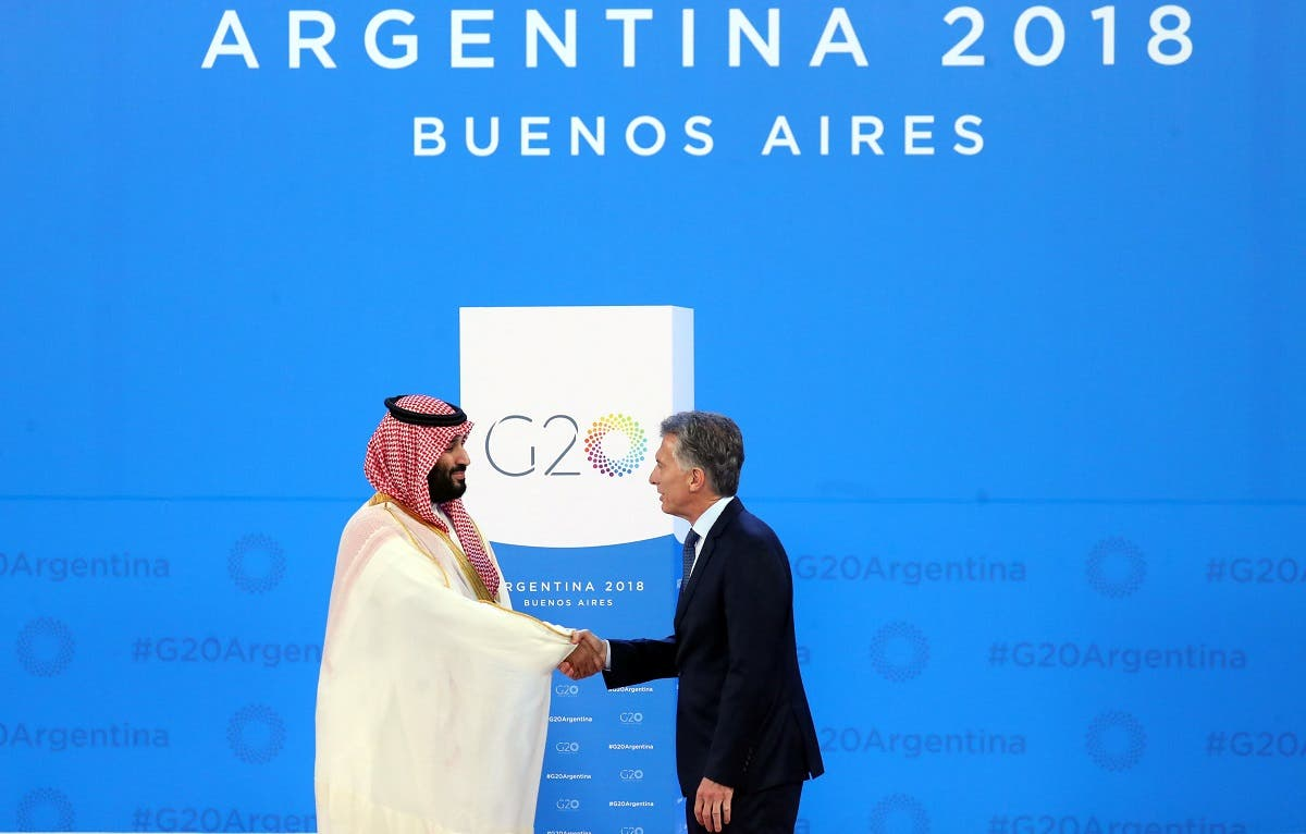 Saudi Arabia's Crown Prince Mohammed bin Salman is welcomed by Argentina's President Mauricio Macri as he arrives for the G20 leaders summit in Buenos Aires. (Reuters)