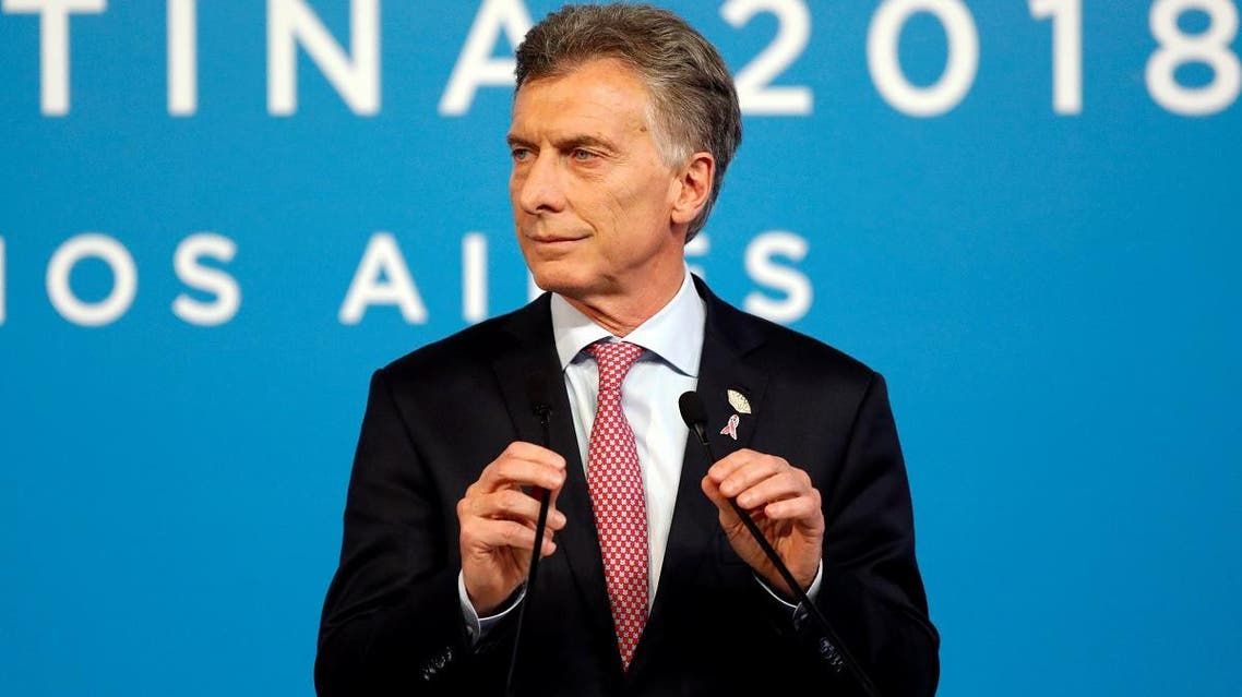 Argentina's President Mauricio Macri holds a news conference at the final day of the G20 leaders' summit in Buenos Aires, Argentina, on December 1, 2018. (Reuters)