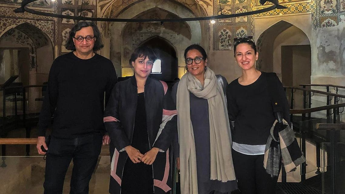 At the Shahi Hammam, Walled City, Lahore. Left to Right: Iftikhar Dadi (Advisor, LB02), Hoor Al Qasimi (Curator, LB02), Qudsia Rahim (Executive Director, LBF and Director, LB02) and Ayesha Jatoi (Advisor, LB02). (Courtesy: Lahore Biennale Foundation).