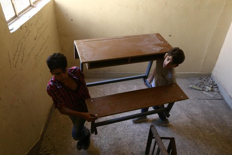 School in the ruins of Raqqa