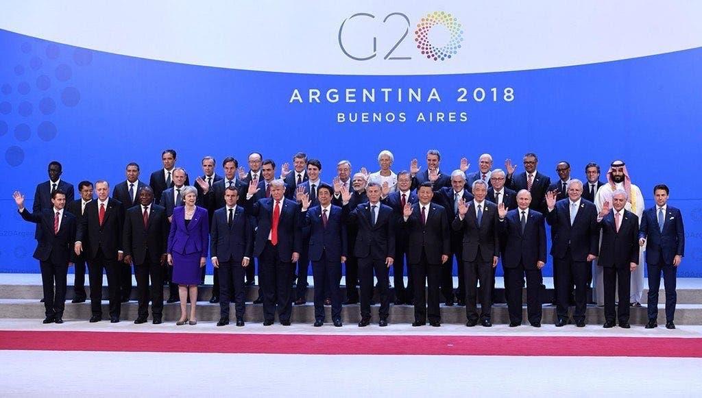 جی 20 سربراہ اجلاس  میں شریک لیڈروں کا  گروپ فوٹو ۔