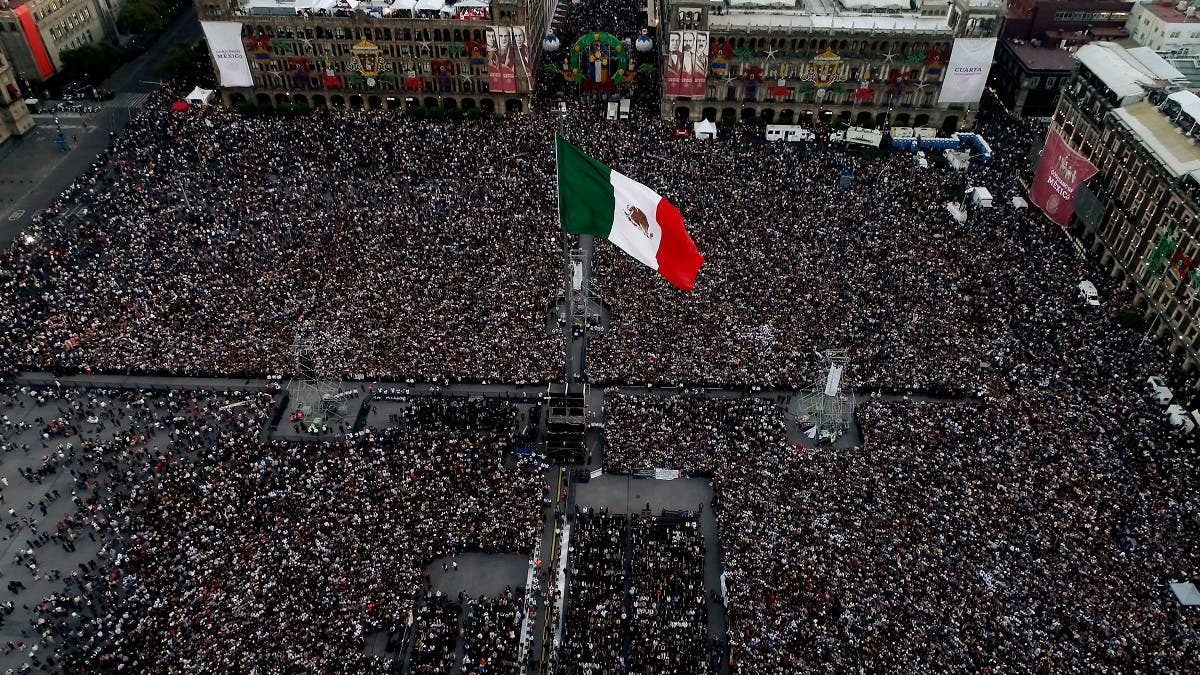 Aerial view of the Zocalo square during AMLO Fest to celebrate Mexico's new President Andres Manuel Lopez Obrador in Mexico City, Mexico December 1, 2018. REUTERS
