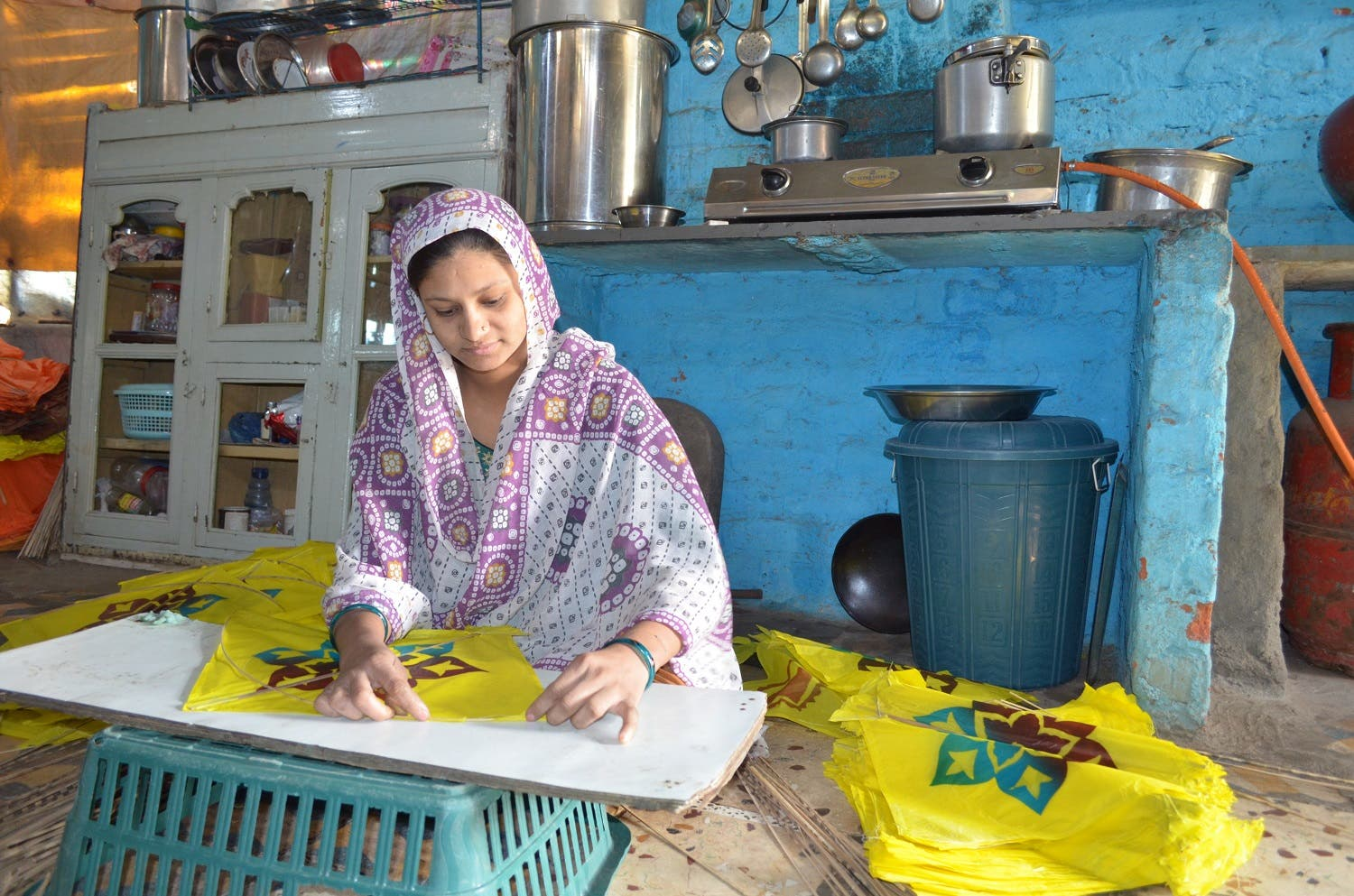 Kites are made mostly by cash-starved but dexterous Muslim women in Ahmedabad. (Supplied)