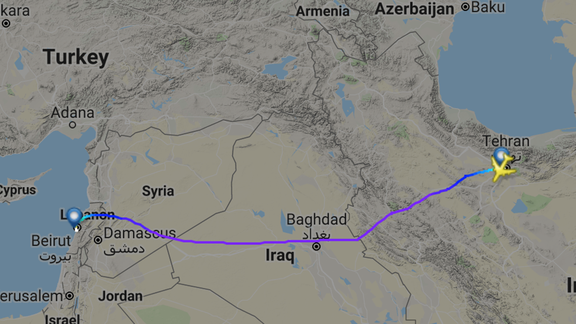 The report claims that Iran has been supplying Lebanon's Hezbollah with advanced munitions by shipping them through civilian airlines. (FlightRadar24)
